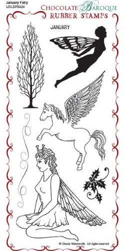 Chocolate Baroque January Fairy Rubber Stamp